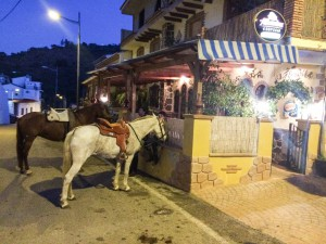Alhambra is one of the two Arenas restaurants where locals park their horse in front